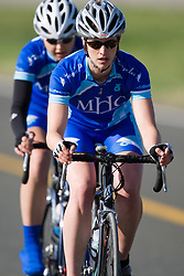 The Mount Holyoke College team of Emma Bast, Metzi Anderson, and Frances Morrison competes in the women's division 2 race.  The 2008 USA Cycling Collegiate National Championships Team Time Trial event was held near Wellington, CO on May 9, 2008.  Teams of 3 or 4 riders raced over a 20km out and back course that ran along a service road to Interstate 25.