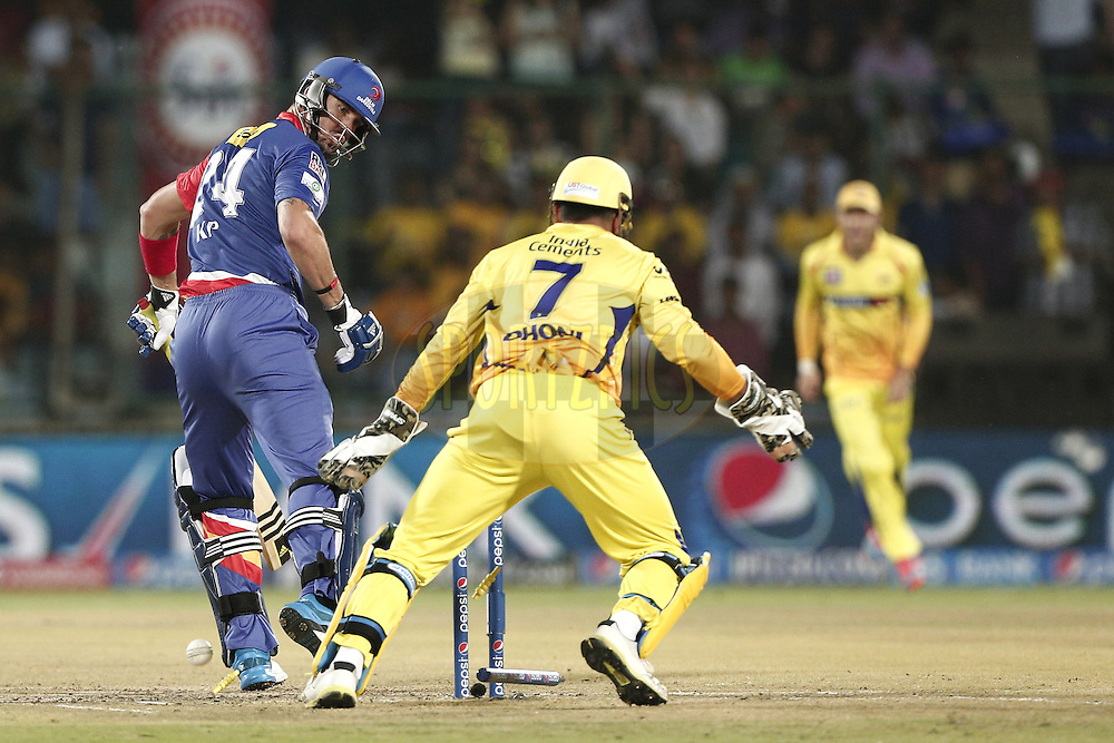 Kevin Pietersen captain of of the Delhi Daredevils bowled by Mohit Sharma of The Chennai Superkings during match 26 of the Pepsi Indian Premier League Season 2014 between the Delhi Daredevils and the Chennai Superkings held at the Ferozeshah Kotla cricket stadium, Delhi, India on the 5th May  2014<br /> <br /> Photo by Deepak Malik / IPL / SPORTZPICS<br /> <br /> <br /> <br /> Image use subject to terms and conditions which can be found here:  http://sportzpics.photoshelter.com/gallery/Pepsi-IPL-Image-terms-and-conditions/G00004VW1IVJ.gB0/C0000TScjhBM6ikg