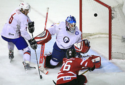 Jonas Holos, goalkeeper Pal Grotnes of Norway and Martin St.Louis of Canada at play-off round quarterfinals ice-hockey game Norway vs Canada at IIHF WC 2008 in Halifax,  on May 14, 2008 in Metro Center, Halifax, Nova Scotia,Canada. (Photo by Vid Ponikvar / Sportal Images)