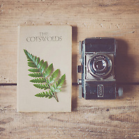 vintage camera, a leaf and a vintage Cotswolds travel guide