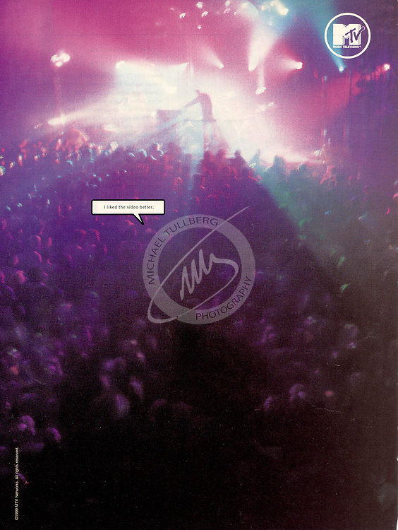 "One of my early print ads for MTV, back in the days when MTV actually played music. The speech bubble is saying, ""I liked the video better"". The picture was shot at aCrystal Method show at the Hollywood Palladium."