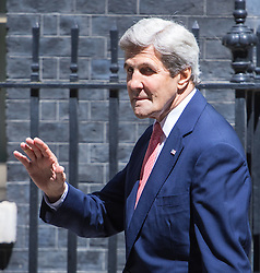 Downing Street, London, July 19th 2016. US Secretary of State John Kerry arrives in Downing Street to pay a courtesy call on Prime Minister Theresa May ahead of talks with British Foreign Secretary Boris Johnson.