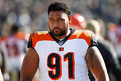 OAKLAND, CA - NOVEMBER 17: Defensive tackle Josh Tupou #91 of the Cincinnati Bengals stands on the sidelines before the game against the Oakland Raiders at RingCentral Coliseum on November 17, 2019 in Oakland, California. The Oakland Raiders defeated the Cincinnati Bengals 17-10. (Photo by Jason O. Watson/Getty Images) *** Local Caption *** Josh Tupou