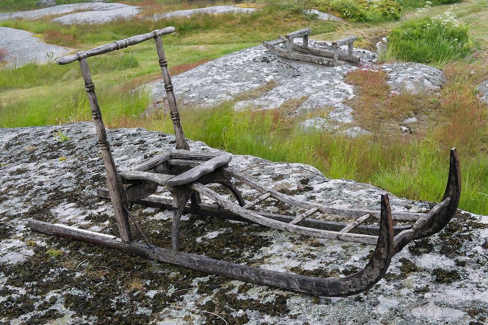 Wooden sledges on the Rödlöga island. Stockholm Archipelago, Sweden