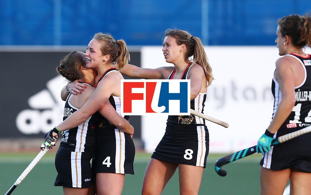 New Zealand, Auckland - 19/11/17  <br /> Sentinel Homes Women&rsquo;s Hockey World League Final<br /> Harbour Hockey Stadium<br /> Copyrigth: Worldsportpics, Rodrigo Jaramillo<br /> Match ID: 10297 - GER vs CHI<br /> Photo: (4) LORENZ Nike, (14) M&Uuml;LLER-WIELAND Janne (C), (8) SCHR&Ouml;DER Anne&nbsp;(C) celebraiting