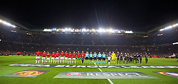 MANCHESTER, ENGLAND - Wednesday, March 16, 2016: Liverpool and Manchester United players before the UEFA Europa League Round of 16 2nd Leg match at Old Trafford. (Pic by David Rawcliffe/Propaganda)