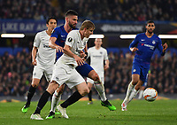 Football - 2018 / 2019 UEFA Europa League - Semi-Final, Second Leg: Chelsea (1) vs. Eintracht Frankfurt (1)<br /> <br /> Eintracht Frankfurt's Martin Hinteregger holds off the challenge from Chelsea's Olivier Giroud, at Stamford Bridge.<br /> <br /> COLORSPORT/ASHLEY WESTERN