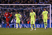 Beram Kayal and the Brighton players look dejected after going 2-0 down during the Sky Bet Championship Play Off First Leg match between Sheffield Wednesday and Brighton and Hove Albion at Hillsborough, Sheffield, England on 13 May 2016.