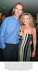 MR & MRS MIKE RUTHERFORD, he is the musician, at a reception in London on 24th May 2001.	OOR 51
