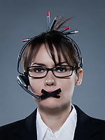 beautiful business woman on isolated with headset telephone bacground muzzle with headset