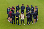 Northamptonshire team huddle before day 3 of the Specsavers County Champ Div 2 match between Northamptonshire County Cricket Club and Leicestershire County Cricket Club at the County Ground, Wantage Road, Abingdon, United Kingdom on 26 June 2019.