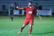 Carl Stewart of Selby Town (9) in action during the The FA Cup Preliminary Round match between Selby Town and Kendal Town at the Fairfax Plant Hire Stadium, Selby, United Kingdom on 4 September 2018.