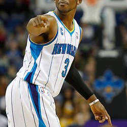 February 7, 2011; New Orleans, LA, USA; New Orleans Hornets point guard Chris Paul (3) against the Minnesota Timberwolves during the fourth quarter at the New Orleans Arena. The Timberwolves defeated the Hornets 104-92.  Mandatory Credit: Derick E. Hingle