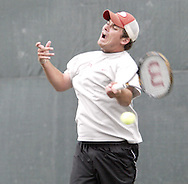Ross Wilson, from Toledo competes in the first set of the finals in the 41st Weston Memorial Tennis Tournament at the Virginia Hollinger Memorial Tennis Club, Monday, May 26, 2008.
