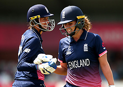 Natalie Sciver of England Women shakes hands with Jenny Gunn of England Women after getting out for 129 - Mandatory by-line: Robbie Stephenson/JMP - 12/07/2017 - CRICKET - The County Ground Derby - Derby, United Kingdom - England v New Zealand - ICC Women's World Cup match 21