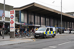© Licensed to London News Pictures. 21/02/2019. London, UK.  A police van outside Barking Station this morning, which has now reopened. A person was reportedly stabbed on an underground train at Barking Station last night, with the suspect fleeing along the platform. Photo credit: Vickie Flores/LNP