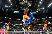 Dallas Mavericks forward Harrison Barnes (40) shoots around Indiana Pacers center Myles Turner (33)  during the second half of an NBA basketball game in Indianapolis, Saturday, Jan. 19, 2019. The Pacers won 111-99. (AP Photo/AJ Mast)