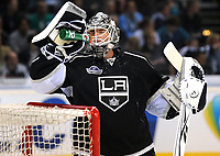 Ishockey<br /> NHL USA<br /> 04.10.2011<br /> Foto: Witters/Digitalsport<br /> NORWAY ONLY<br /> <br /> Torwart Jonathan Bernier (Kings) <br /> <br /> Eishockey, Compuware NHL Challenge, Hamburg Freezers - Los Angeles Kings