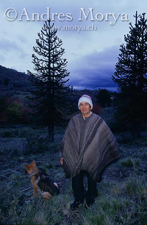 Pehuenche indigenous man, La Araucania, Chile Image by Andres Morya