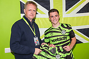 Man of the MatchForest Green Rovers Jack Aitchison(29), on loan from Celtic with match sponsor Reinishaws during the EFL Sky Bet League 2 match between Forest Green Rovers and Colchester United at the New Lawn, Forest Green, United Kingdom on 14 September 2019.