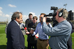 NEWPORT, WALES - Saturday, April 20, 2013: UEFA President Michel Platini talks to the media at the opening of the FAW National Development Centre in Newport. (Pic by David Rawcliffe/Propaganda)