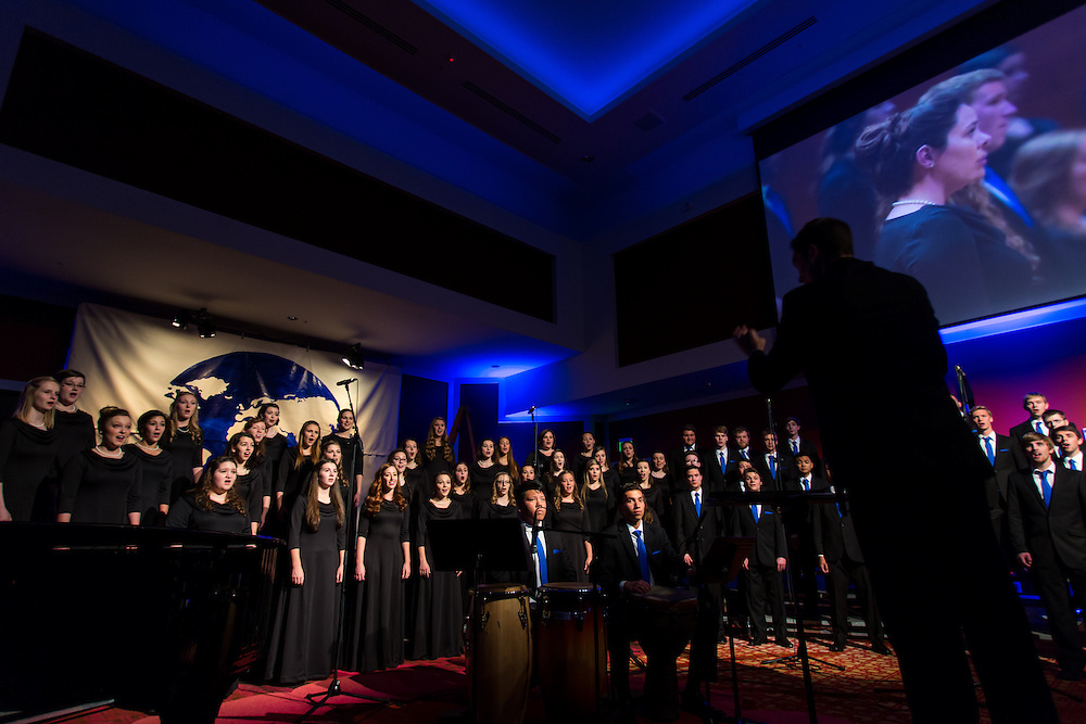 The Gonzaga University Chamber Chorus, directed by Timothy Westerhaus, perform during the Because You Believe event. (Photo by Matt Weigand/Gonzaga University)