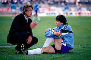 03.06.1992, Olympic Stadium, Helsinki, Finland..Friendly international match, Finland v England..Coach Jukka Vakkila gives instructions to Jari Litmanen during the warm up before the match..©JUHA TAMMINEN