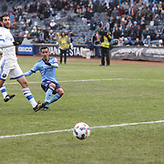 NEW YORK, NEW YORK - March 18: Maximiliano Moralez #10 of New York City FC shoots wide while clean through as is shot is watch by goalkeeper Evan Bush #1 of Montreal Impact during the New York City FC Vs Montreal Impact regular season MLS game at Yankee Stadium on March 18, 2017 in New York City. (Photo by Tim Clayton/Corbis via Getty Images)