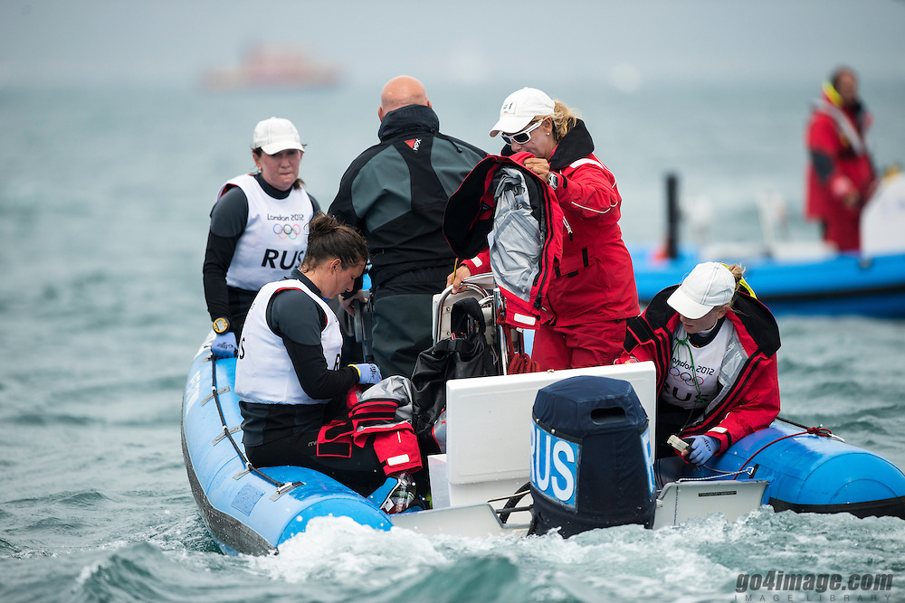 2012 Olympic Games London / Weymouth<br /> Matchrace day 3 round robin<br /> Team Russia with Coach Sofia Beakatourou