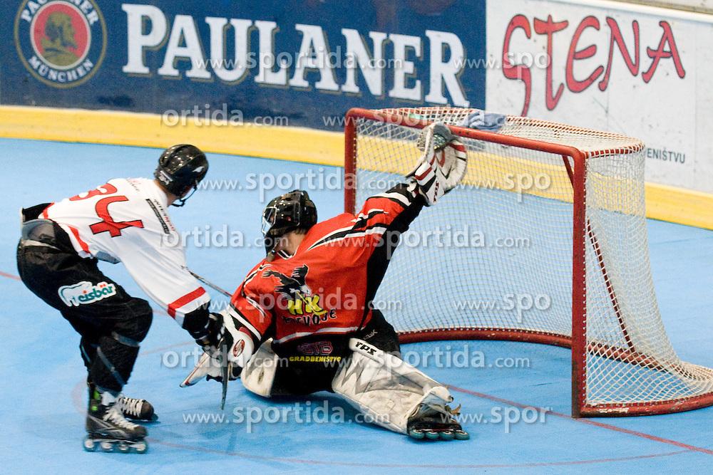 Goalie Matevz Grabnar of HK Prevoje with huge save on Ziga Pavlin's penalty shot at IZS Masters 2010 inline hockey final match between HK Prevoje and Kavke Kranj, on June 12, 2010, in Ice Hall, Kranj, Slovenia. (Photo by Matic Klansek Velej / Sportida)