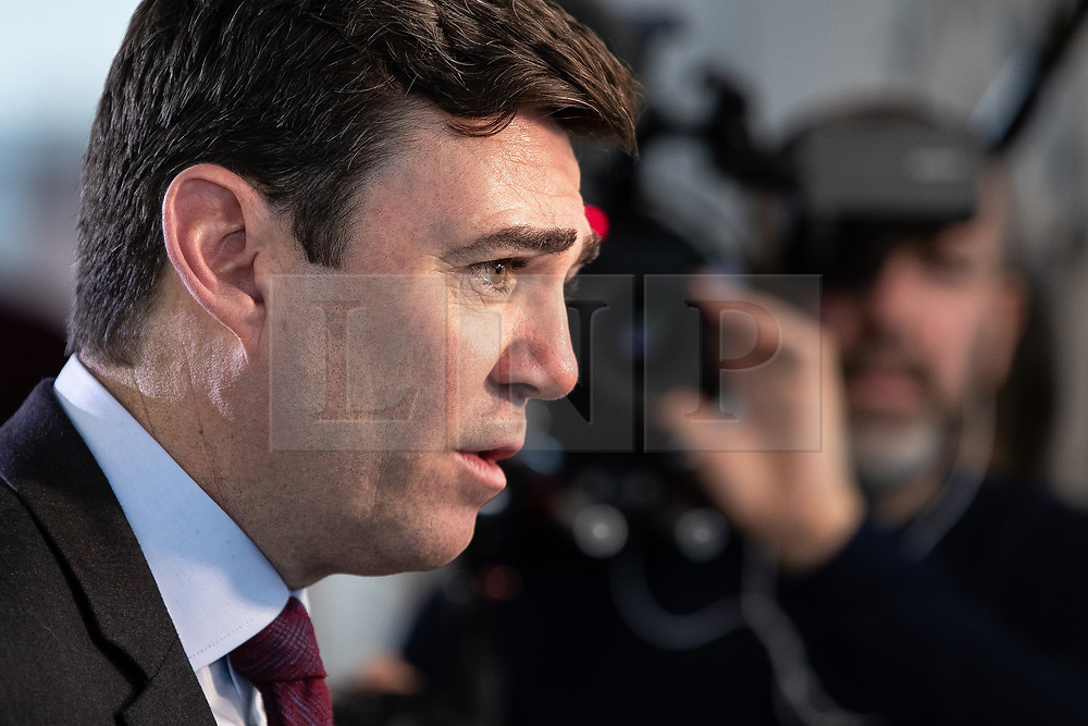 """© Licensed to London News Pictures. 07/01/2019. Manchester, UK. The Metro Mayor of Greater Manchester ANDY BURNHAM announces a revised plan for new housing (some on greenbelt land) , transport infrastructure , the reduction of pollution and improvements to the environment across the North West , alongside the regeneration of Stockport Town Centre , at an event at etc Venues in Manchester City Centre . The new """" Spatial Framework """" also reaffirms the region's commitment to ban fracking and lists 50,000 new """" affordable """" homes (30,000 of which are specified as social housing) . Photo credit: Joel Goodman/LNP"""