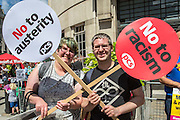 Terri Hersey (Unite) & JP Rosser (HMRC West Mercier) The People's Assembly & Stand up to Racism demo, Central London. Saturday the 16th of July 2016.