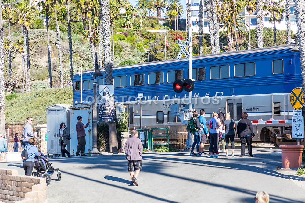 Surfliner Amtrack Train Passing Through the Pier Bowl in San Clemente