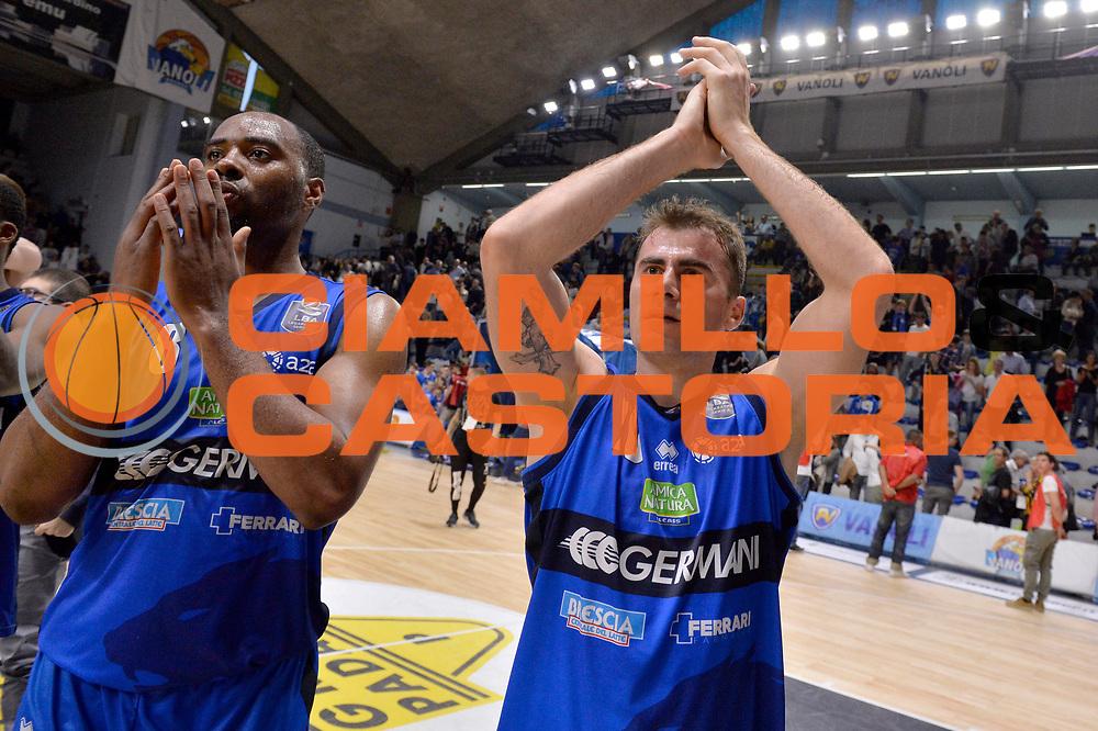 Marcus Landry, Franko Bushati<br /> Vanoli Cremona - Germani Basket Brescia Leonessa<br /> Lega Basket Serie A 2016/2017<br /> Cremona, 09/04/2017<br /> Foto M.Ceretti / Ciamillo - Castoria