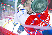 Washington Capitals left wing Alex Ovechkin, from Russia, keeps his eyes on the puck with St. Louis Blues right wing Vladimir Tarasenko (91), also from Russia, nearby in the first period of an NHL hockey game, Saturday, March 26, 2016, in Washington. (AP Photo/Alex Brandon)