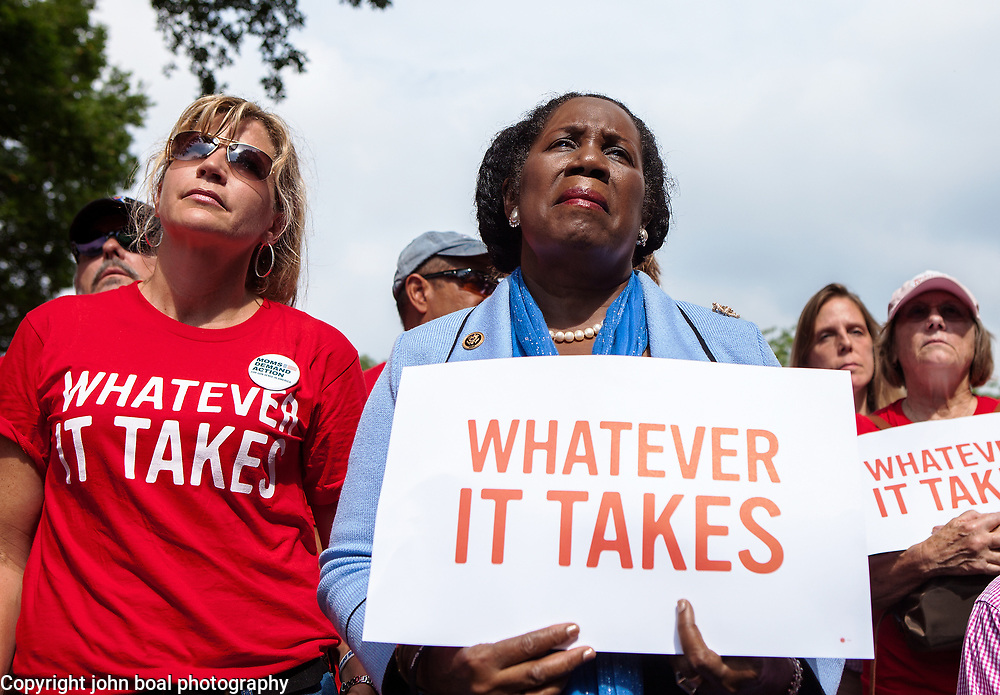 "Rep. Sheila Jackson Lee, D-TX, center, attended a rally organized to support victims of gun violence and pressure politicians to do ""whatever it takes"" to prevent gun violence.   Andy Parker, made his first visit to Washington, D.C. since his daughter, WDBJ_TV reporter, Alison Parker, was shot and killed on live television near Roanoke, VA last week.  The rally, organized by Everytown for Gun Safety, brought Parker together with Virginia Senators, Mark Warner, Tim Kaine and Virginia Governor, Terry McAuliffe near the United States Capitol, on Thursday, September 10, 2015.  John Boal/for The New York Daily News"