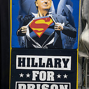 Anti-Political Humor T-Shirts against both  Donald Trump as Superman and Hillary for Prison