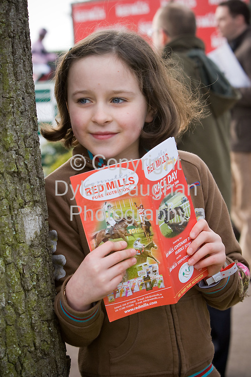 16/2/2008.Pictured at the Connolly's Red Mills race day at Gowran Park on Saturday was Kate Walsh aged 8 from Thomastown who picked out the best turned out in the Walsh's Toyota Beginners Steeplechase..Picture Dylan Vaughan.
