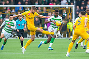 Jon Guthrie (#27) of Livingston FC clears the ball ahead of Odsonne Edouard (#22) of Celtic FC during the Ladbrokes Scottish Premiership match between Livingston FC and Celtic FC at The Tony Macaroni Arena, Livingston, Scotland on 6 October 2019.