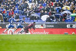 February 4, 2018 - Barcelona, Catalonia, Spain - RCD Espanyol midfielder Victor Sanchez (4) andFC Barcelona forward Lionel Messi (10) during the match between RCD Espanyol vs FC Barcelona, for the round 22 of the Liga Santander, played at Cornella -El Prat Stadium on 4th February 2018 in Barcelona, Spain. (Credit Image: © Urbanandsport/NurPhoto via ZUMA Press)