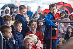 CARDIFF, WALES - Wednesday, May 29, 2019: Supporters listen to a Q&A with the Wales manager Ryan Giggs on the steps of the Senedd after a press conference at the Wales Millennium Centre during the Urdd National Eisteddfod to announce the squad for the forthcoming UEFA Euro 2020 Qualifying Group E matches for Wales against Croatia and Hungary. (Pic by David Rawcliffe/Propaganda)