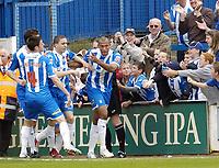 Photo: Olly Greenwood.<br />Colchester United v Leeds United. Coca Cola Championship. 09/04/2007. Colchester's Chris Iwelumo celebrates scoring the equalizing goal