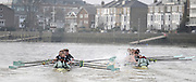 Putney, GREAT BRITAIN,  left, crew Personality clashes with crew Looks during the 2008 Varsity/Cambridge University Trial Eights, raced over the championship course. Putney to Mortlake, Tue. 16.12.2008. [Mandatory Credit, Peter Spurrier/Intersport-images..Crew Personality. Bow Dan SHAUGHNESSY, 2. Shane O'MARA, 3. John CLAY, 4. Ryan MONAGHAN, 5. Fred GILL, 6. Deaglan McEACHERN, 7. Hardy CUTBASCH, stroke,. Rob WEITEMAYER and cox Rebecca DOWBIGGIN...Crew Looks;.Bow James STRAWSON. 2. Joel JENNINGS, 3. Code STERNAL, 4 Peter MARSLAND, 5. George NASH, 6. Henry PELLY, 7. Tom RANSLEY, stroke Silas STAFFORD and Cox Helen HODGES.. Varsity Boat Race, Rowing Course: River Thames, Championship course, Putney to Mortlake 4.25 Miles,