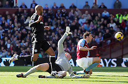 Nicholas Anelka scores Chelsea's winning goal during the Barclays Premier League match between Aston Villa and Chelsea at Villa Park on February 21, 2009 in Birmingham, England.