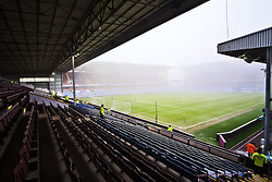A general view of Turf Moor on a foggy morning ahead of the Barclays Premier League clash between Burnley and West Brom - Photo mandatory by-line: Matt McNulty/JMP - Mobile: 07966 386802 - 08/02/2015 - SPORT - Football - Burnley - Turf Moor - Burnley v West Brom - Barclays Premier League