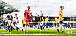 Falkirk's David McCracken (5) cele scoring their fifth goal.<br /> Falkirk 6 v 0 Cowdenbeath, Scottish Championship game played at The Falkirk Stadium, 25/10/2014.