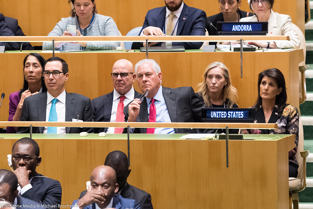 Steven Mnuchin, H.R. McMaster, Rex Tillerson and Nikki Haley at the General Assembly at the United Nations in New York City, NY on September 19, 2017.