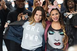 © Licensed to London News Pictures. 05/03/2017.  Former Spice Girl Melanie C and Preeya Kalidas take part in a rally raising awareness of women and girls in third world countries who spend days walking for water. March also marks CARE's annual celebration for International Women's Day. London, UK. Photo credit: Ray Tang/LNP
