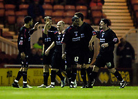 Photo: Jed Wee.<br /> Middlesbrough v Crystal Palace. Carling Cup. 30/11/2005.<br /> <br /> Crystal Palace celebrate taking the lead.
