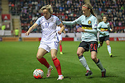 Gemma Davison (England) controls the ball while Julie Biesmans (Belgium) watches during the Euro 2017 qualifier between England Ladies and Belgium Ladies at the New York Stadium, Rotherham, England on 8 April 2016. Photo by Mark P Doherty.
